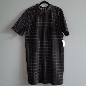 NWT Eloquii Black Grid Dress w/ Leather Collar